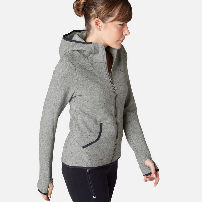 WOMAN PANT JACKET SWEAT Snowboarding - Hooded Gym Jacket 900 - Grey NYAMBA - Snowboard Clothing
