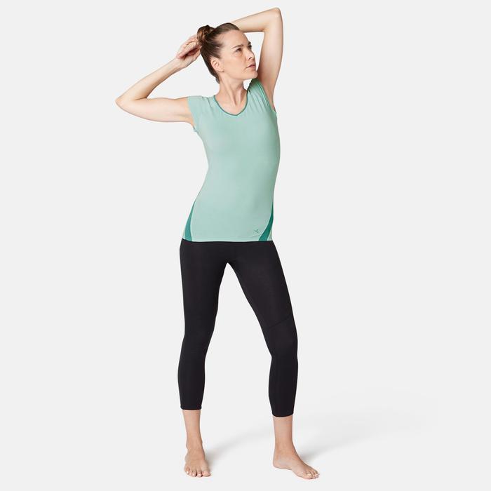 T-Shirt 530 Dévoré-Muster Pilates sanfte Gymnastik Damen hellblau