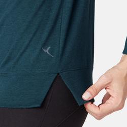 Damesshirt 500 met lange mouwen voor pilates/lichte gym eendenblauw met print