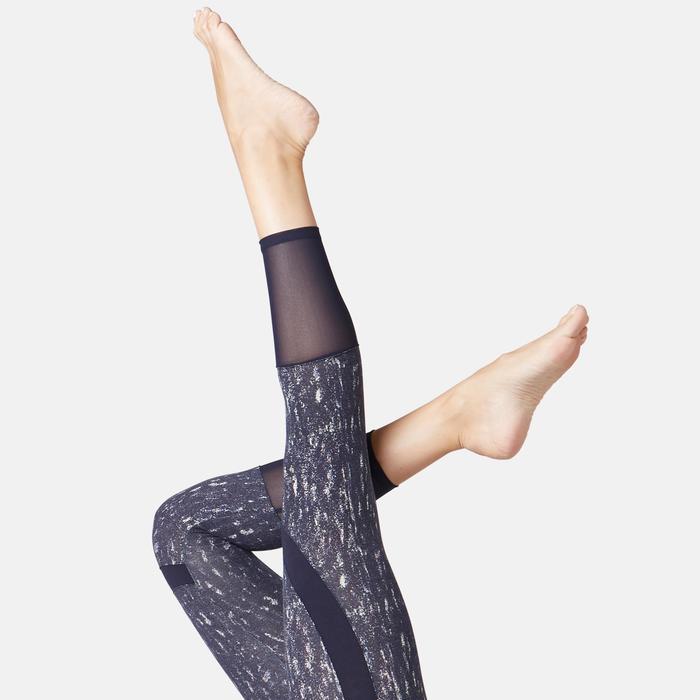 Legging court de sport taille haute 520 femme 7/8 en coton bleu marine printé