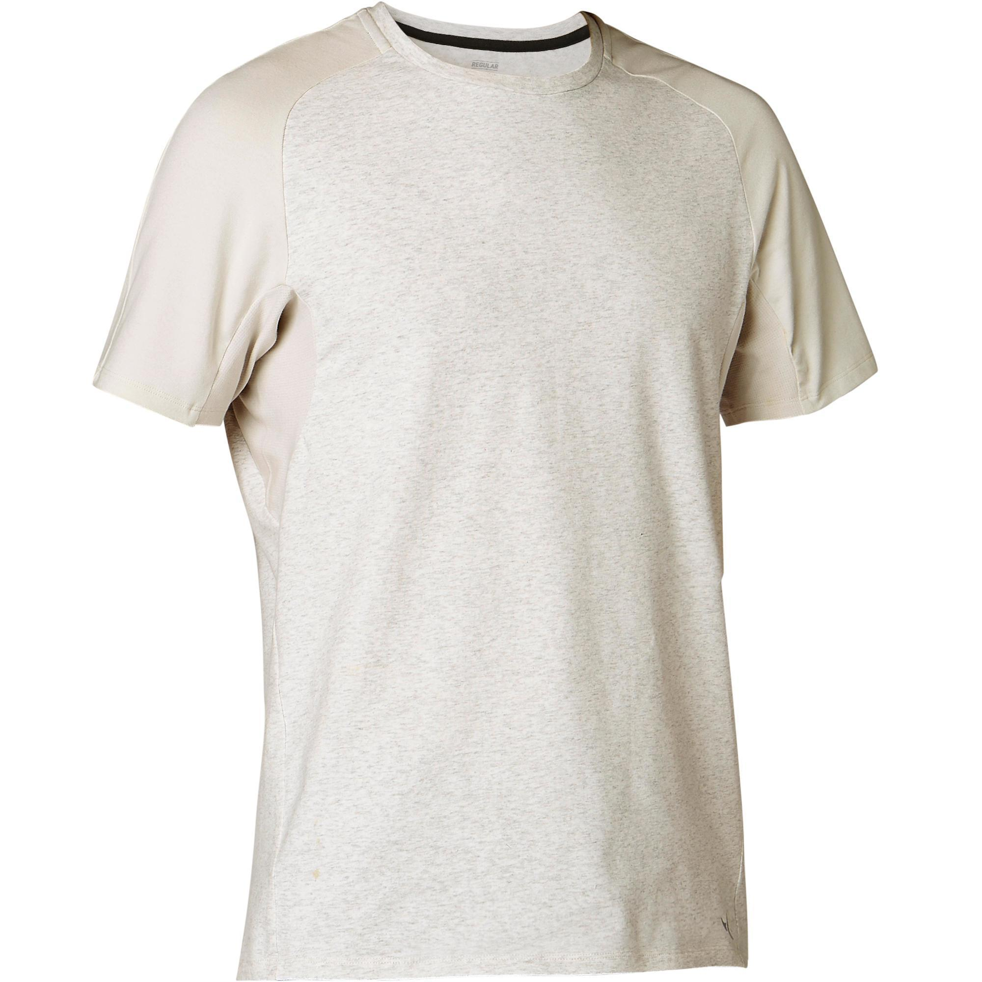 T-Shirt 520 Regular Gym & Pilates Herren beige meliert | Sportbekleidung > Sportshirts > Poloshirts | Beige | Domyos