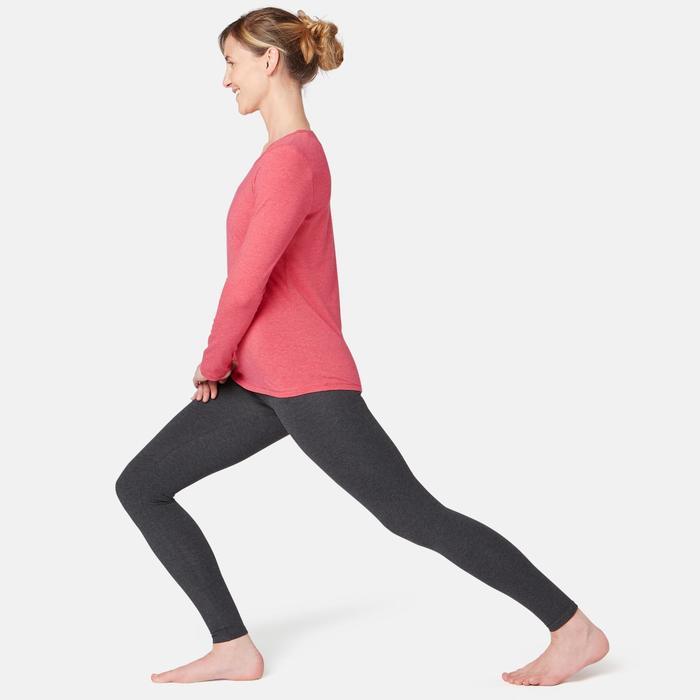 Camiseta 100 manga larga Pilates y Gimnasia suave mujer rosa oscuro jaspeado