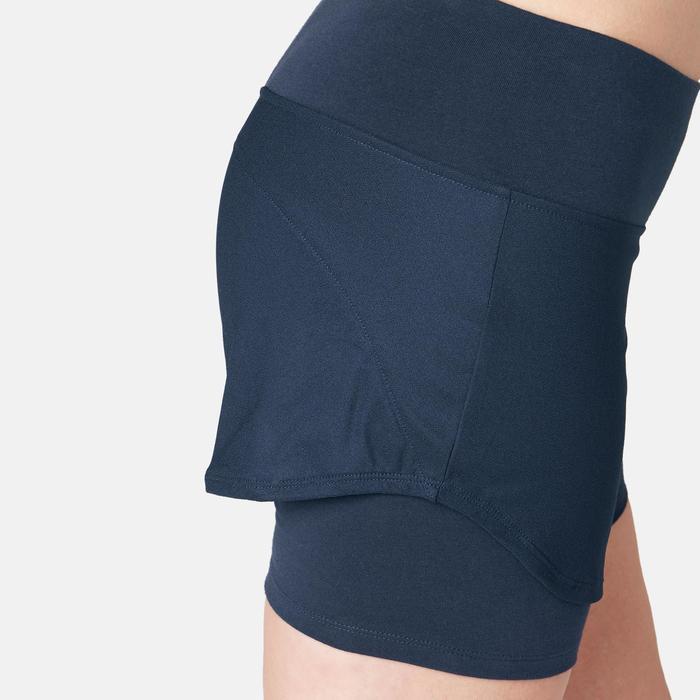 女款2合1短褲520 - 軍藍色