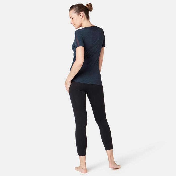 T-Shirt 520 Tüll Pilates sanfte Gymnastik Damen marineblaumeliert