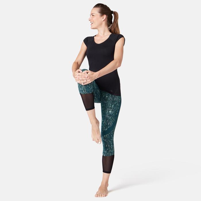 7/8-Leggings 520 Slim Pilates & sanfte Gymnastik Damen blau mit Print