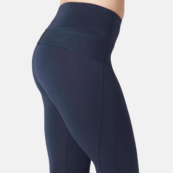 Legging sport taille haute 520 femme en coton bleu marine
