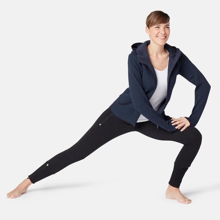 Veste 900 spacer capuche Pilates Gym douce femme bleu marine