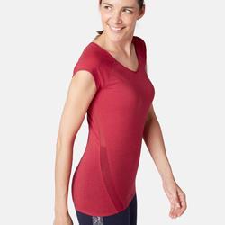 女款皮拉提斯與溫和健身T恤530 Burnout - 紅色