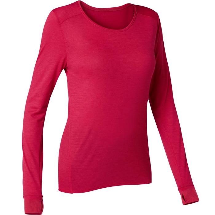 T-Shirt laine merinos ML regular Pilates Gym Douce femme rouge