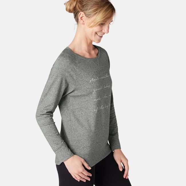 500 Women's Long-Sleeved Pilates & Gentle Gym T-Shirt - Grey Print