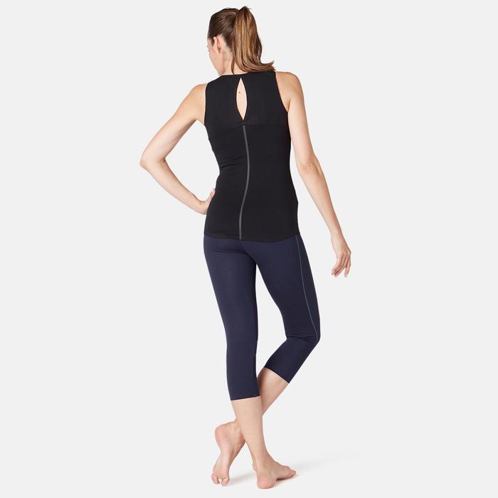 7/8-fitnesslegging dames 560 slim fit platte buik modellerend marineblauw
