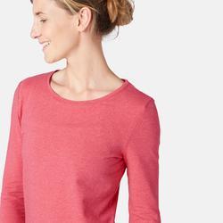 T-shirt Manches Longues 100 Femme Rose Chiné
