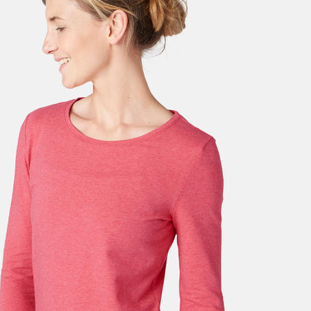 T-shirt manches longues sport pilates gym douce 100 rose chiné – Femme