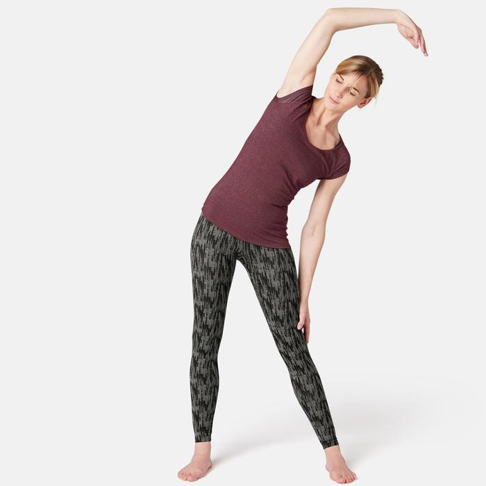 Leggings Fit+ 500 Pilates & sanfte Gymnastik Damen grau mit Print