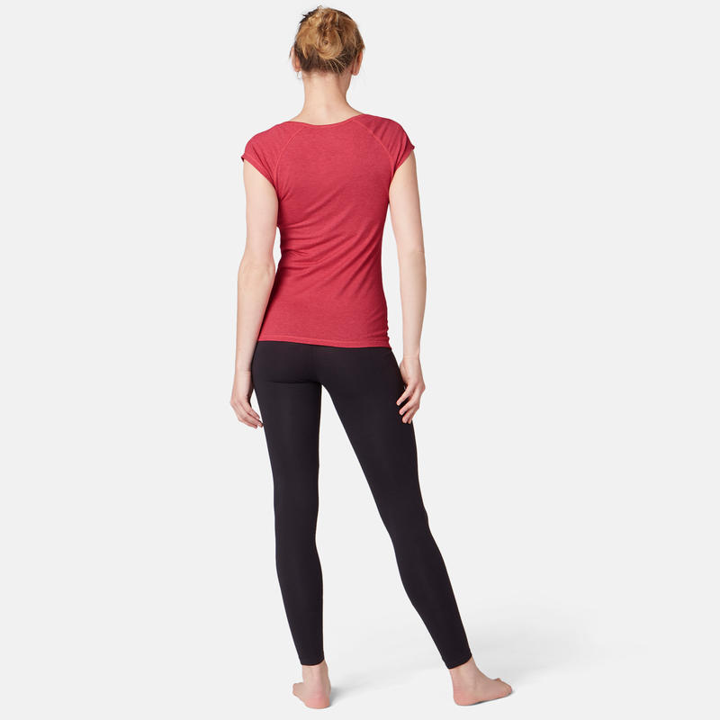 500 Women's Slim-Fit Gentle Gym & Pilates T-Shirt - Mottled Pink