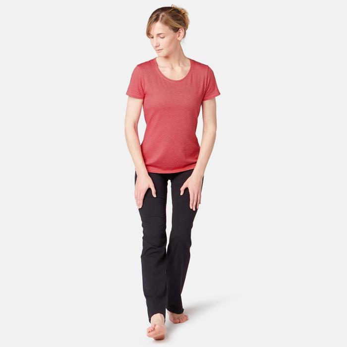Dames T-shirt voor pilates en lichte gym 500 regular fit roze