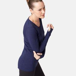Damesshirt in merinowol voor pilates en lichte gym 510 marineblauw