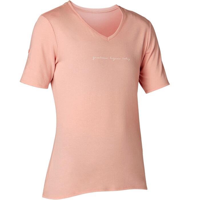 Camiseta 510 regular Pilates y Gimnasia suave mujer rosa estampado