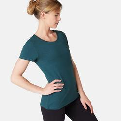 Dames T-shirt voor pilates en lichte gym 500 regular fit petrolblauw