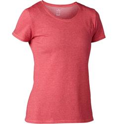 Dames T-shirt voor pilates en lichte gym 500 regular fit roze