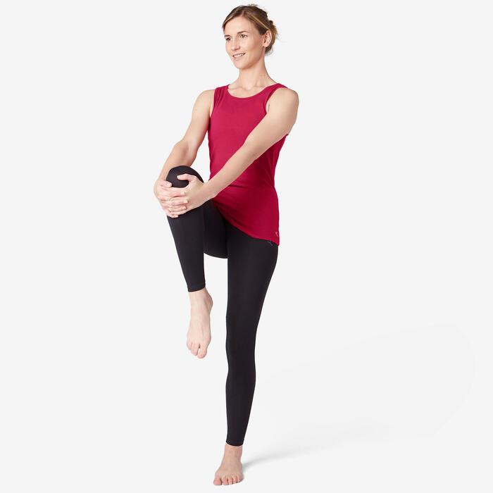Tank-Top 500 Pilates & sanfte Gymnastik Damen bordeaux meliert
