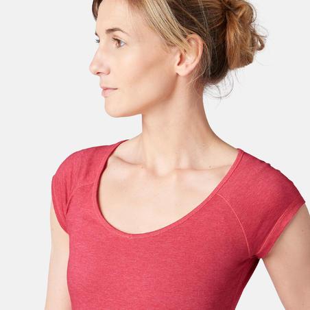 Жіноча футболка 500 для легкої гімнастики/ пілатесу, приталеного крою - Рожева