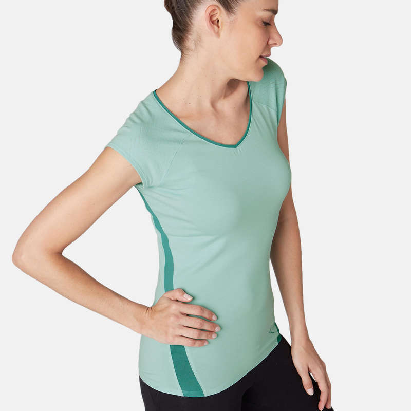 WOMAN T SHIRT LEGGING SHORT Pilates - 530 Burnout Gym T-Shirt - Blue NYAMBA - Pilates Clothes