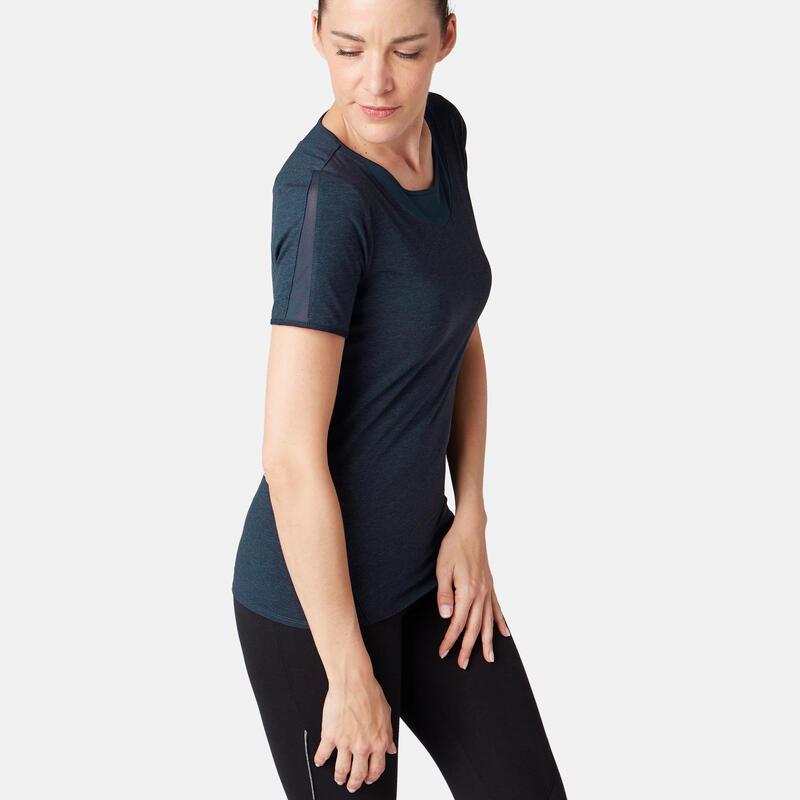 T-Shirt 520 tulle Pilates Gym douce femme bleu marine chiné