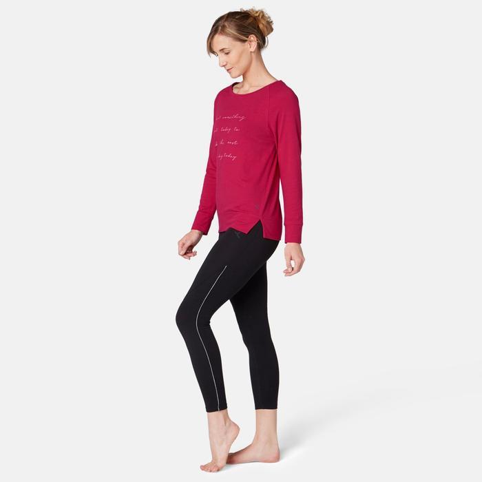 T-Shirt 500 manches longues Pilates Gym douce femme rouge printé