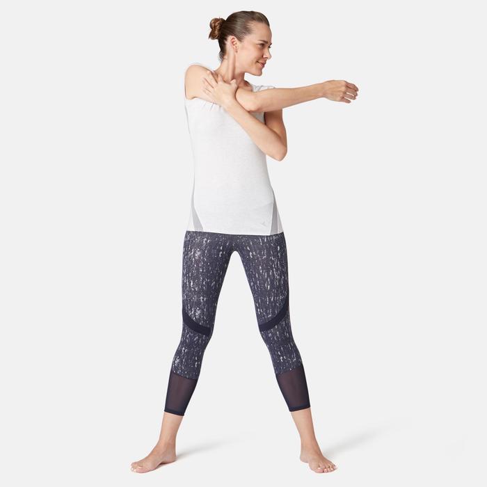 7/8-Leggings 520 Slim Gym & Pilates Damen marineblau mit Print