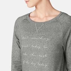 T-Shirt 500 manches longues Pilates Gym douce femme gris printé