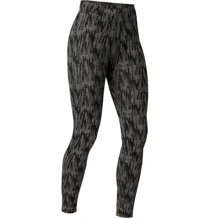 Dameslegging voor pilates en lichte gym Fit+ 500 grijs met print