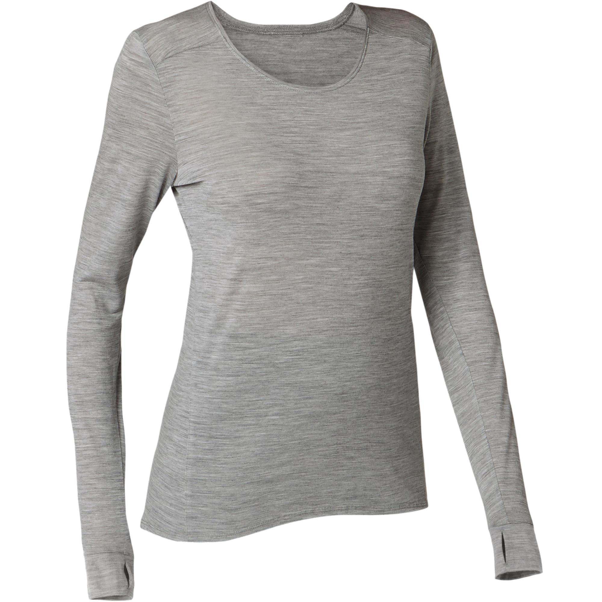 Women's wear - Women's Long-Sleeved Pilates and Gentle Gym Merino Wool  T-Shirt 510 - Grey