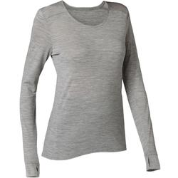 T-shirt Manches Longues Sport Pilates Gym Douce Femme Laine Gris Chiné