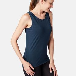 Damestopje voor pilates en lichte gym 520 tule gemêleerd marineblauw