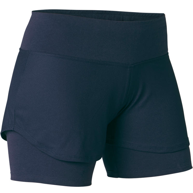 Stretchy 2-in-1 Cotton Fitness Shorts - Navy Blue