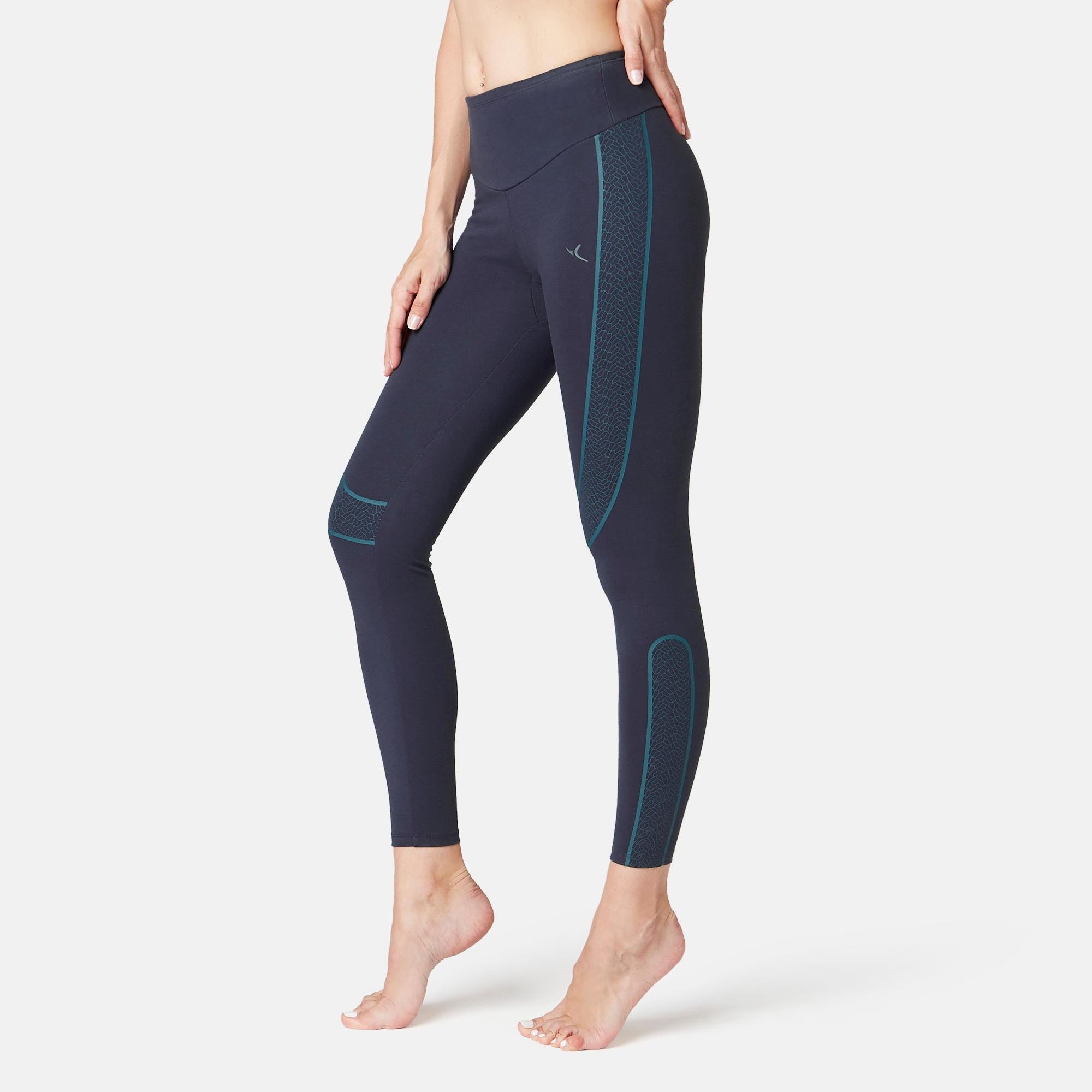Leggings 560 Slim Pilates sanfte Gymnastik Damen marineblau | Bekleidung > Hosen > Leggings | Blau | Domyos