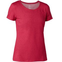 Dames T-shirt voor pilates en lichte gym 500 regular fit donkerroze
