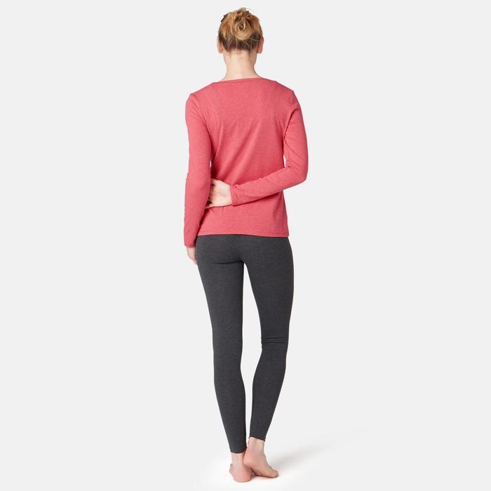 Damesshirt 100 met lange mouwen voor pilates en lichte gym gemêleerd donkerroze