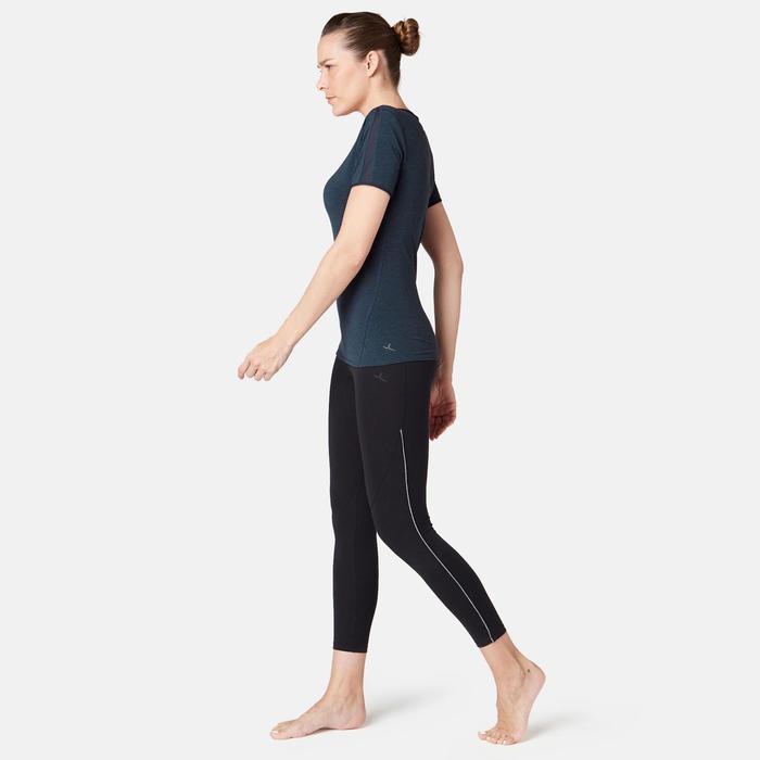 Dames T-shirt 520 met tule voor pilates/lichte gym gemêleerd marineblauw