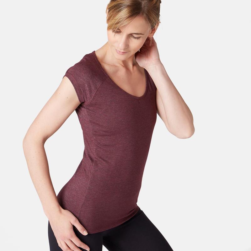 T-Shirt 500 slim Pilates Gym douce femme bordeaux chiné