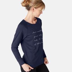 T-Shirt 500 manches longues Pilates Gym douce femme bleu marine printé