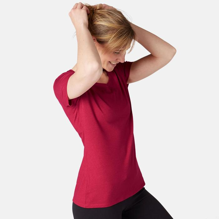 T-Shirt 500 Regular Pilates sanfte Gymnastik Damen dunkelrosa