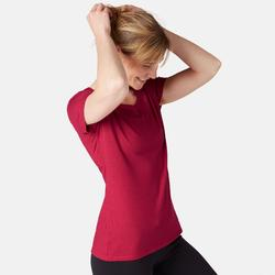 T-Shirt 500 regular Pilates Gym douce femme rose foncé