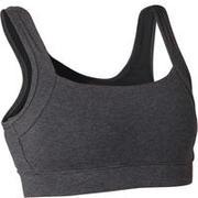 Women's Pilates & Gentle Gym Sports Bra - Heathered Dark Grey