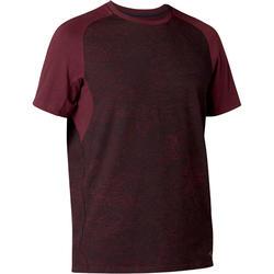 Camiseta 520 regular Pilates y Gimnasia suave hombre burdeos estampado