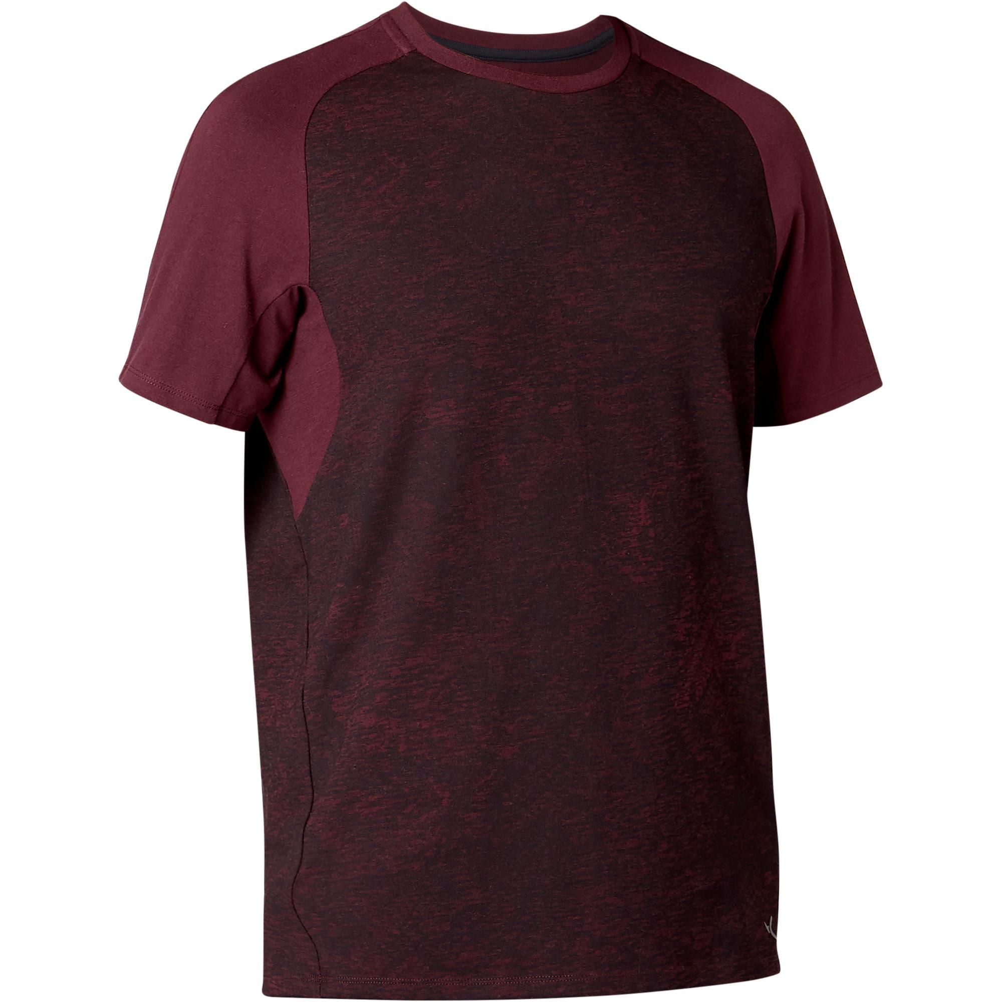 T shirt 520 regular pilates gym douce homme bordeaux printé domyos