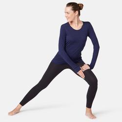 T-Shirt laine merinos ML regular Pilates Gym Douce femme bleu foncé