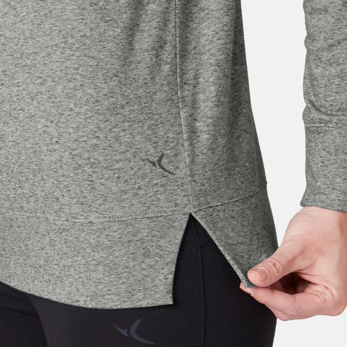 Damesshirt 500 met lange mouwen voor pilates/lichte gym grijs met print