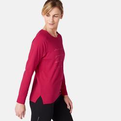 女款皮拉提斯與溫和健身長袖T恤500 - 紅色印花